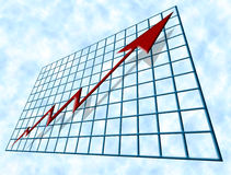 Financial Growth. Blue tube-shaped graph, chart, grid or table with a perspective that seems to vanish at it's furthest top left corner and contains a red jagged Stock Images