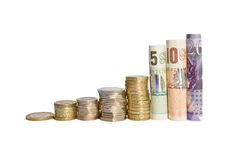 Financial Growth. A bar chart of British currency increasing in value Stock Photo