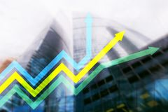 Financial growth arrows graph. Investment and trading concept.  vector illustration