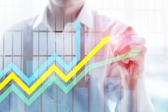 Financial growth arrows graph. Investment and trading concept.  stock illustration