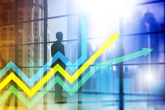 Financial growth arrows graph. Investment and trading concept.  Royalty Free Stock Photo