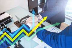 Financial growth arrows graph. Investment and trading concept.  royalty free illustration