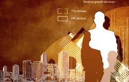 Financial growth. Back view of businessman and graphs at background Stock Photos