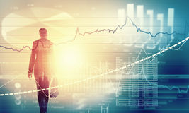 Financial growth. Back view of businesswoman and graphs at background Stock Photos