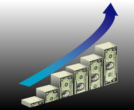 Financial Growth Background. A metaphorical illustrated background showing a growing bar graph made of dollars Stock Image