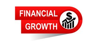Financial growth banner. Icon on isolated white background - vector illustration Stock Photos