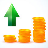 Financial growth,  coins. Illustration of financial growth,  coins image Royalty Free Stock Photo