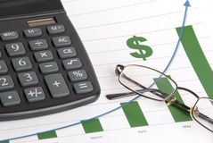 Financial Growth Concept. A grouping of financially-related items to indicate increasing profits Stock Photo