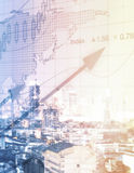 Financial growth concept. Abstract forex chart on city background. Financial growth concept. Toned image. Double exposure Royalty Free Stock Image