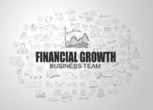 Financial Growth concept with Business Doodle design style. Online courses, sales and offers, best timing and deals Stock Image