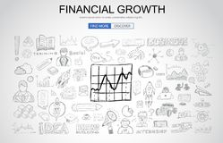 Financial Growth concept with Business Doodle design style. Online presence, sales and offers, best timing. Modern style illustration for web banners, brochure Royalty Free Stock Photo