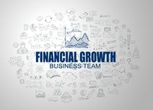 Financial Growth concept with Business Doodle design style. Online courses, sales and offers, best timing and deals Royalty Free Stock Image