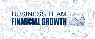 Financial Growth concept with Business Doodle design style. Online courses, sales and offers, best timing and deals Stock Photo