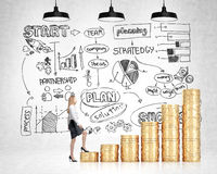 Financial growth concept businesswoman Royalty Free Stock Photos