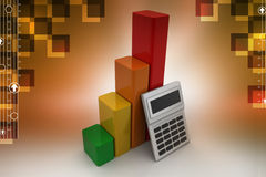 Financial growth concept with calculator. In color background Royalty Free Stock Photos