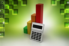 Financial growth concept with calculator. In color background Stock Images
