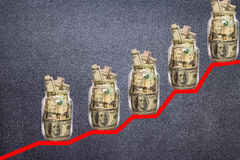 Financial growth concept with dollar bills ladder Stock Image