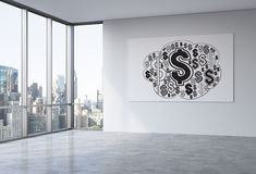 Financial growth concept. With dollar sign sketch on whiteboard in empty office interior with New York city view. 3D Rendering Royalty Free Stock Images