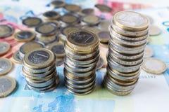 Euro coins ladder on banknotes. European money closeup. stock photography