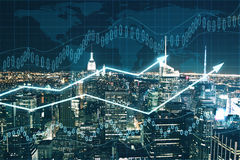 Financial growth concept. Forex chart on night city background. Financial growth concept Stock Images