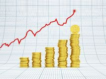 Financial growth concept with golden bitcoins. 3d rendering Stock Photos