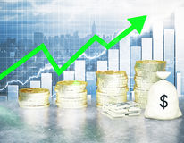 Financial growth. Concept with golden coin ladder, green upward arrow, cash stack and sack on business chart and city background. 3D Rendering Stock Photos