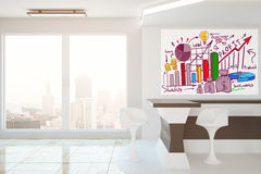 Financial growth concept. Modern interior with city view, reception desk and business sketch. Financial growth concept, 3D Rendering Royalty Free Stock Photography