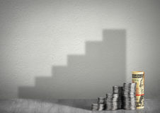 Financial growth concept, money with steps shadow Royalty Free Stock Photos