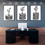 Financial growth concept. Office interior with creative growing coins in frames. Financial growth concept. 3D Rendering Stock Images