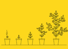 Financial growth concept. Thin line style illustration Royalty Free Stock Images