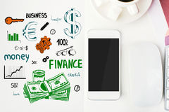 Financial growth concept. Top view of office workplace with creative finance sketching, coffee cup, blank smartphone and other items. Financial growth concept Stock Photography