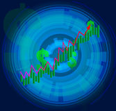 Financial Growth Curve. Technological Display of Financial gain Royalty Free Stock Photos