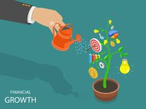 Financial growth flat isometric vector concept. Flat isometric vector concept of financial growth, success, achievemen and investment Royalty Free Stock Photos