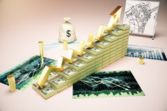 Financial growth on forex chart. Financial growth concept with dollar banknote ladder, business sketch, forex charts and money sack. 3D Rendering Stock Photos