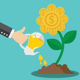 Financial growth form idea concept. Business hand use light bulb watering golden flower coin plant. Financial growth form idea concept. Vector illustration. Flat Stock Photo