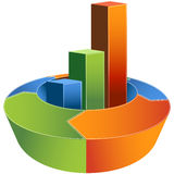 Financial Growth Graph - 3D. Financial development diagram representing growth Royalty Free Stock Images