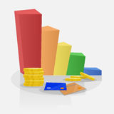 Financial growth graph. In several colors. Coins and credit cards around Stock Photo