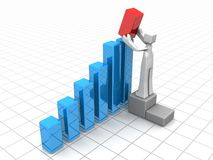 Financial growth or improvement solution. Businessman adding a red bar chart to increase financial growth 3d illustration Royalty Free Stock Images