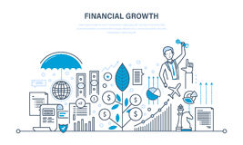 Financial growth, market research, deposits, contributions, savings, management, calculation. Stock Images