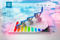 Financial growth in percentage. In color background Stock Photo