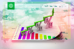 Financial growth in percentage. In color background Stock Images
