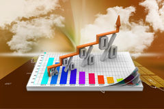 Financial growth in percentage. In color background Royalty Free Stock Images