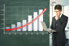 Financial growth and presentation concept stock photos