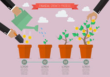 Financial growth process timelline infographic. Planting process business metaphor Royalty Free Stock Images