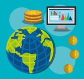 Financial growth up and money. Graphic design with icons,  illustration Stock Photo