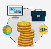 Financial growth up and money. Graphic design with icons,  illustration Royalty Free Stock Photography