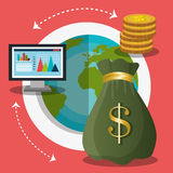 Financial growth up and money. Graphic design with icons,  illustration Royalty Free Stock Photos