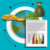 Financial growth up and money. Graphic design with icons,  illustration Royalty Free Stock Images