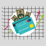 Financial growth up and money. Graphic design with icons, vector illustration Royalty Free Stock Images