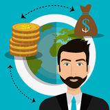 Financial growth up and money. Graphic design with icons, vector illustration Royalty Free Stock Photography